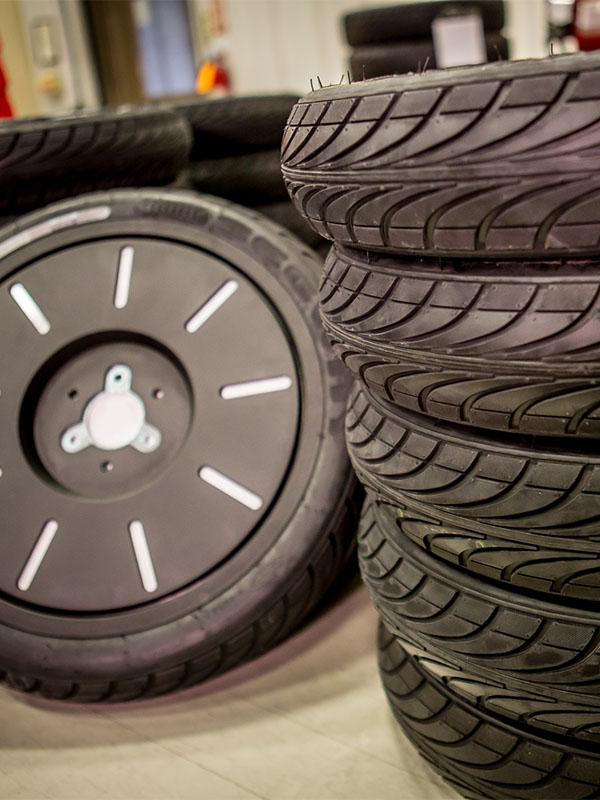 Black tire transportation wheels