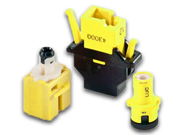 black and yellow fiber optic attenuators